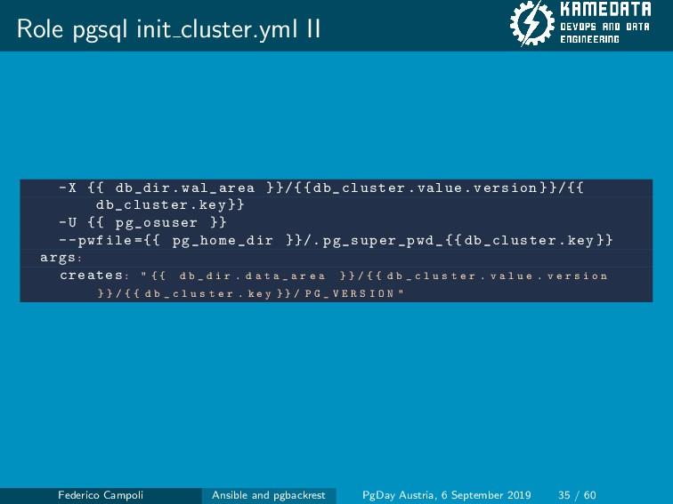 Role pgsql init cluster.yml II -X {{ db_dir.wal...