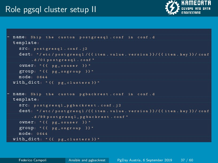 Role pgsql cluster setup II - name: S h i p t h...