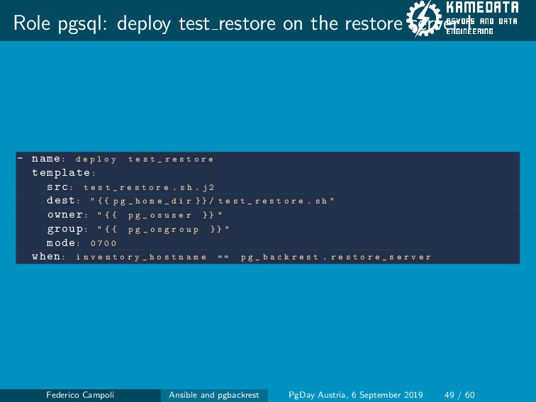 Role pgsql: deploy test restore on the restore ...