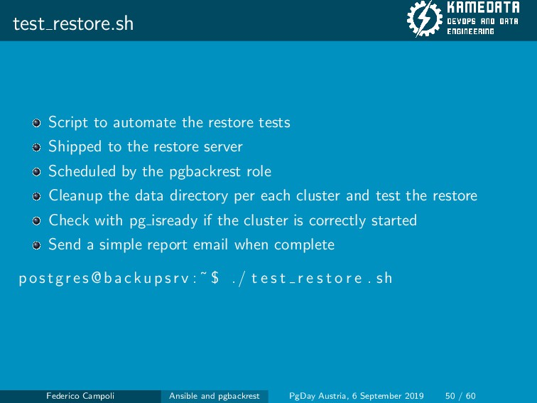 test restore.sh Script to automate the restore ...