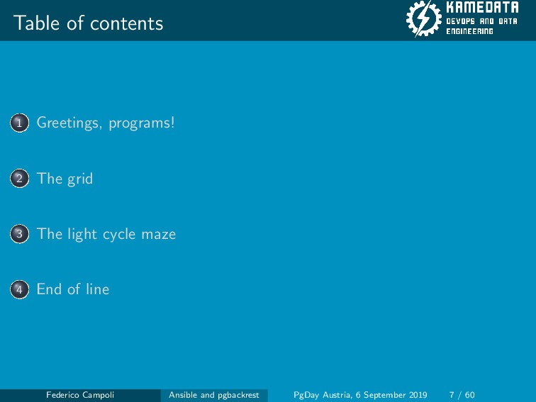 Table of contents 1 Greetings, programs! 2 The ...