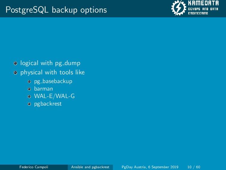 PostgreSQL backup options logical with pg dump ...
