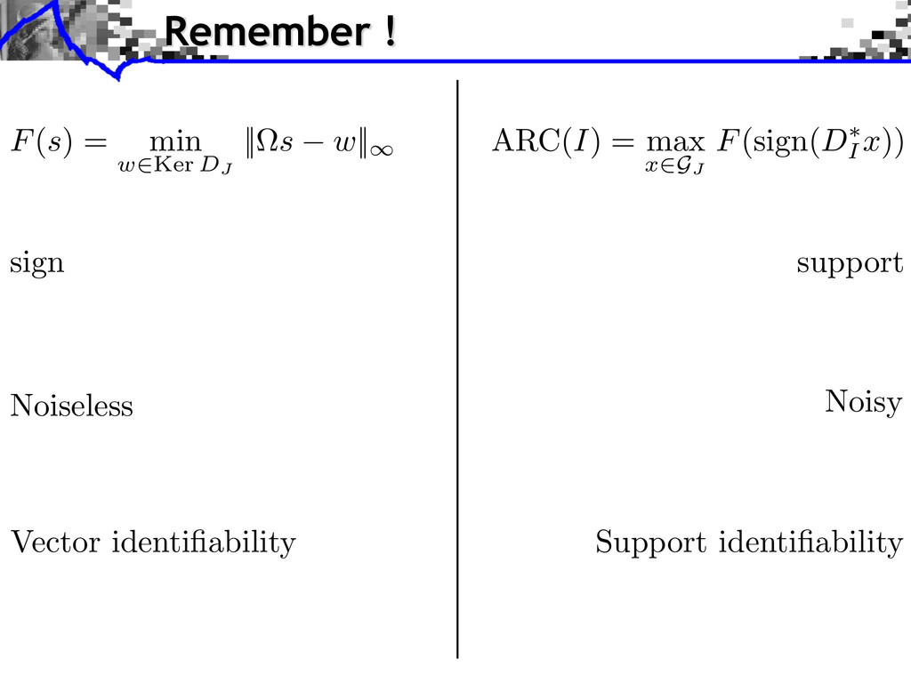 sign support Noiseless Noisy F(s) = min w2Ker D...