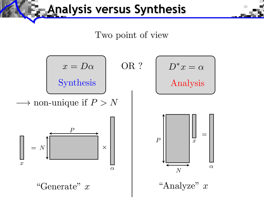 """Analysis versus Synthesis Two point of view """"Ge..."""