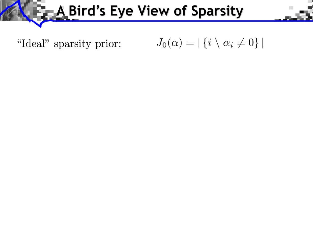"""Ideal"" sparsity prior: J0(↵) = | {i \ ↵i 6= 0}..."