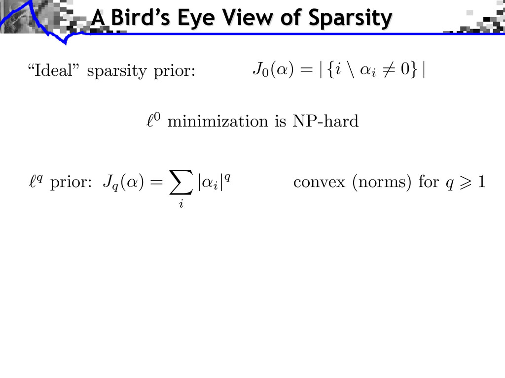 "`0 minimization is NP-hard ""Ideal"" sparsity pri..."