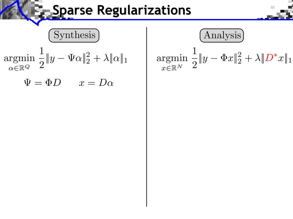 Analysis argmin x 2RN 1 2 || y x ||2 2 + || D ⇤...