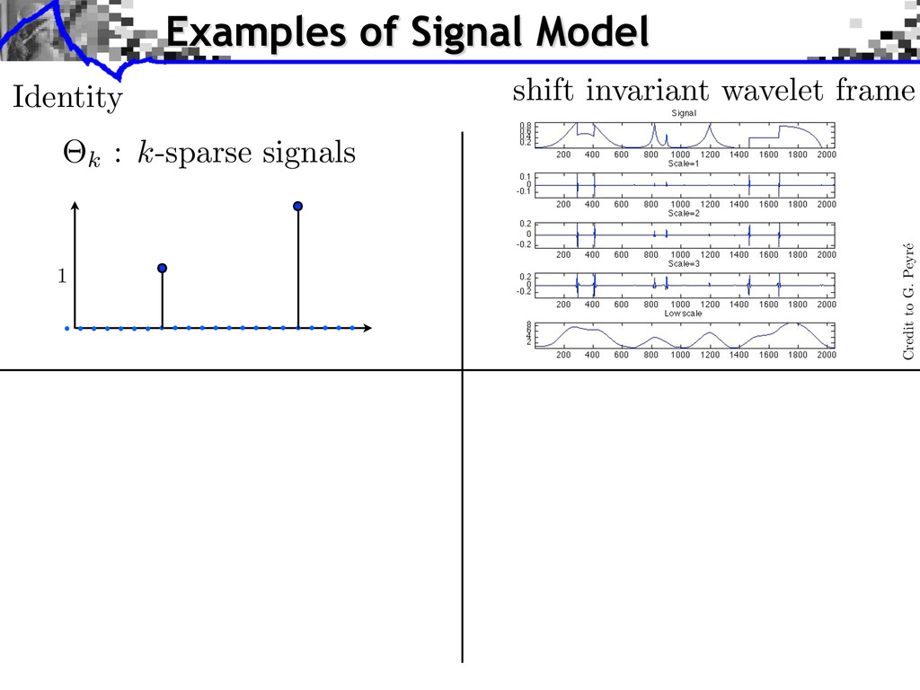 Examples of Signal Model Credit to G. Peyr´ e s...