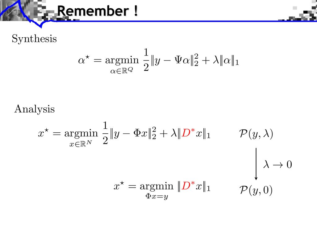 Synthesis Analysis ! 0 x? = argmin x = y || D ⇤...
