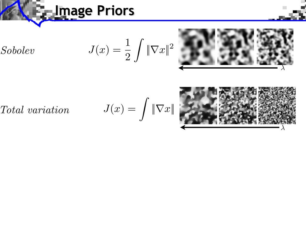 Image Priors Sobolev J ( x ) = 1 2 Z ||r x ||2 ...