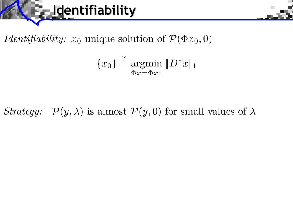 Identifiability: x0 unique solution of P ( x0, 0...
