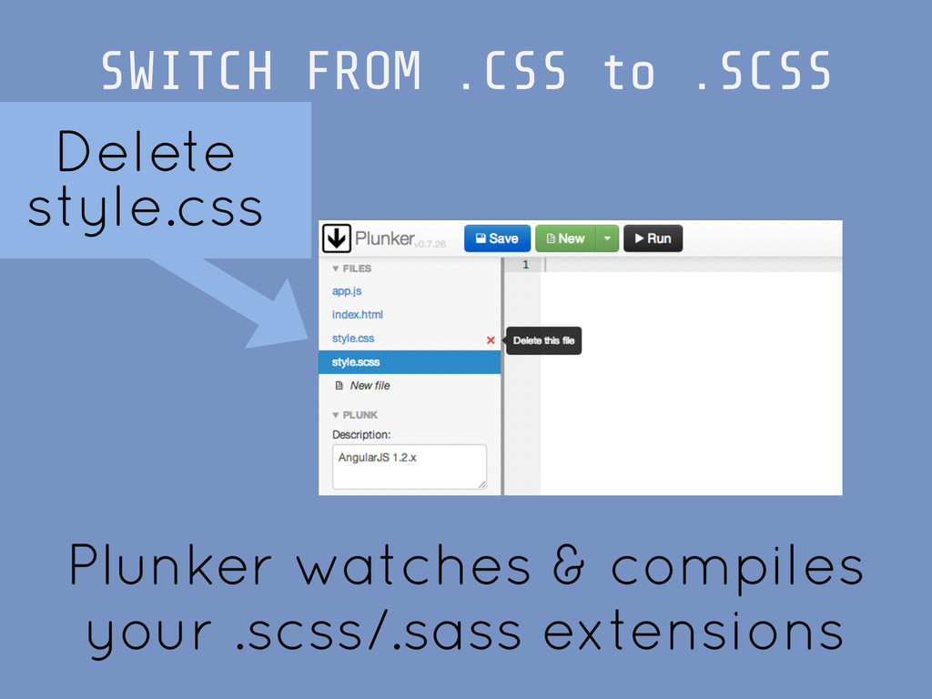 SWITCH FROM .CSS to .SCSS Delete style.css Plun...