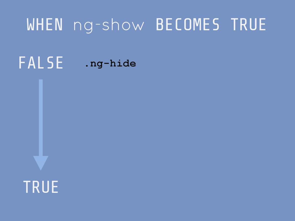 WHEN ng-show BECOMES TRUE FALSE ! ! ! ! ! TRUE ...