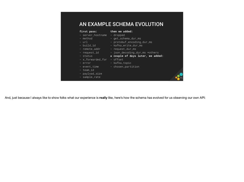 first pass: - server_hostname - method - url - ...
