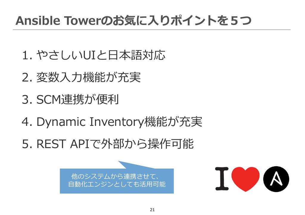 21 1. やさしいUIと日本語対応 2. 変数入力機能が充実 3. SCM連携が便利 4. ...