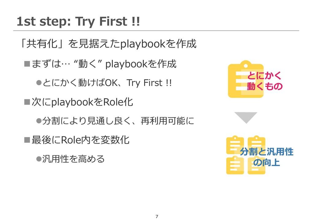 """7 「共有化」を見据えたplaybookを作成 ◼まずは… """"動く"""" playbookを作成 ..."""