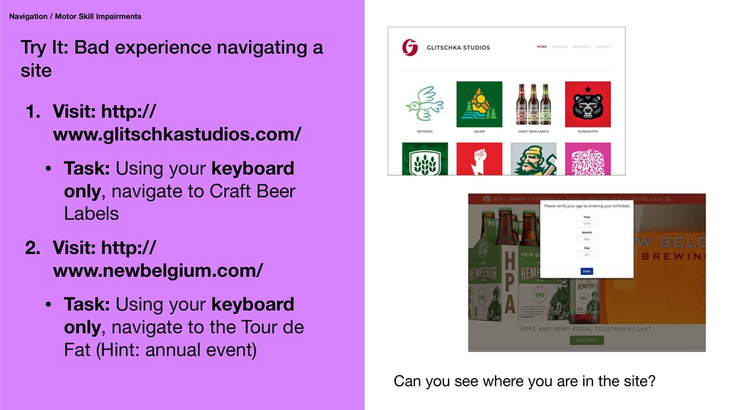 Try It: Bad experience navigating a site Naviga...