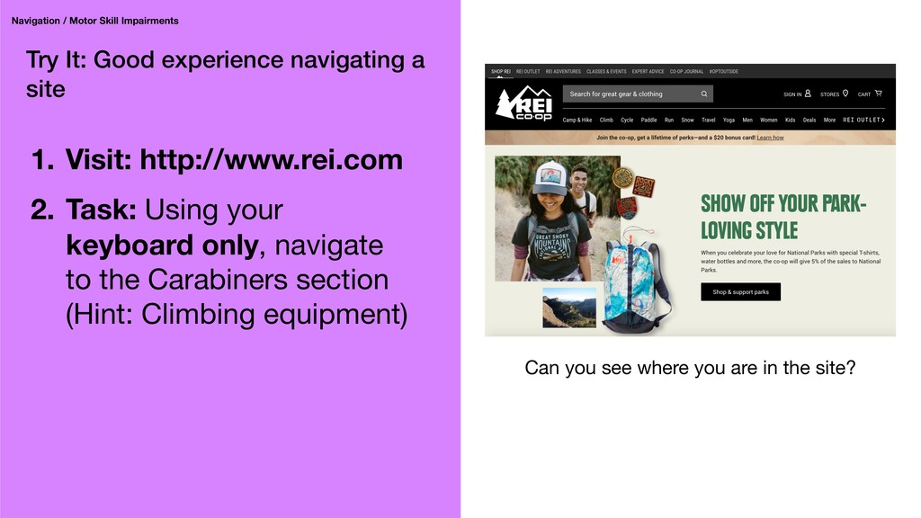 Try It: Good experience navigating a site Navig...