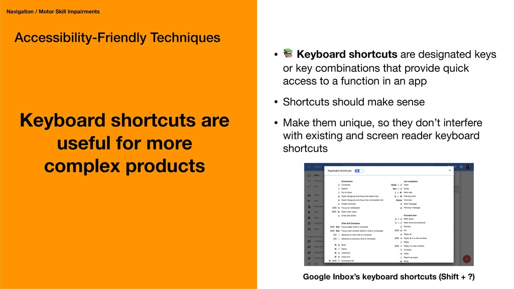 Accessibility-Friendly Techniques Keyboard shor...