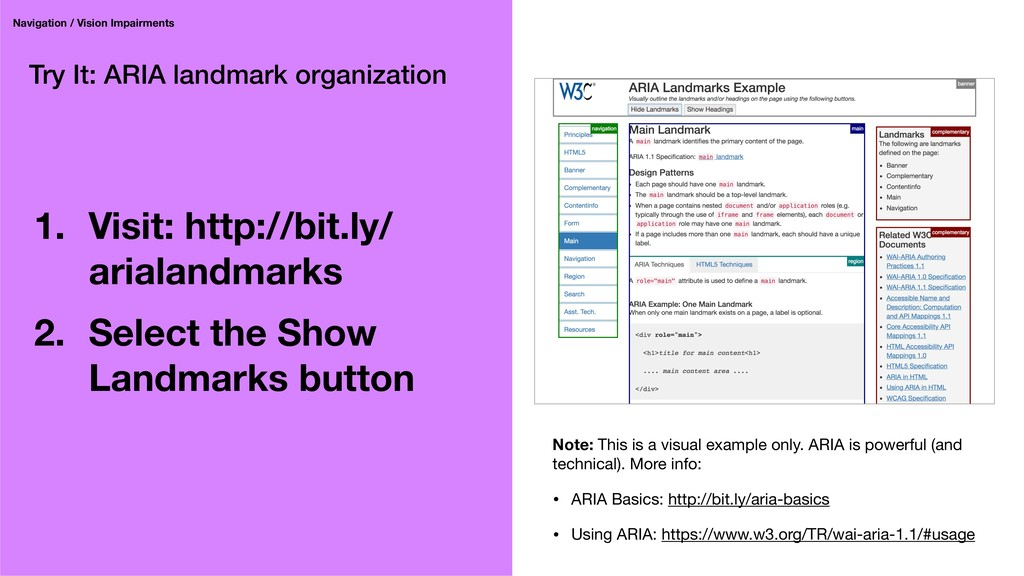 Try It: ARIA landmark organization 1. Visit: ht...