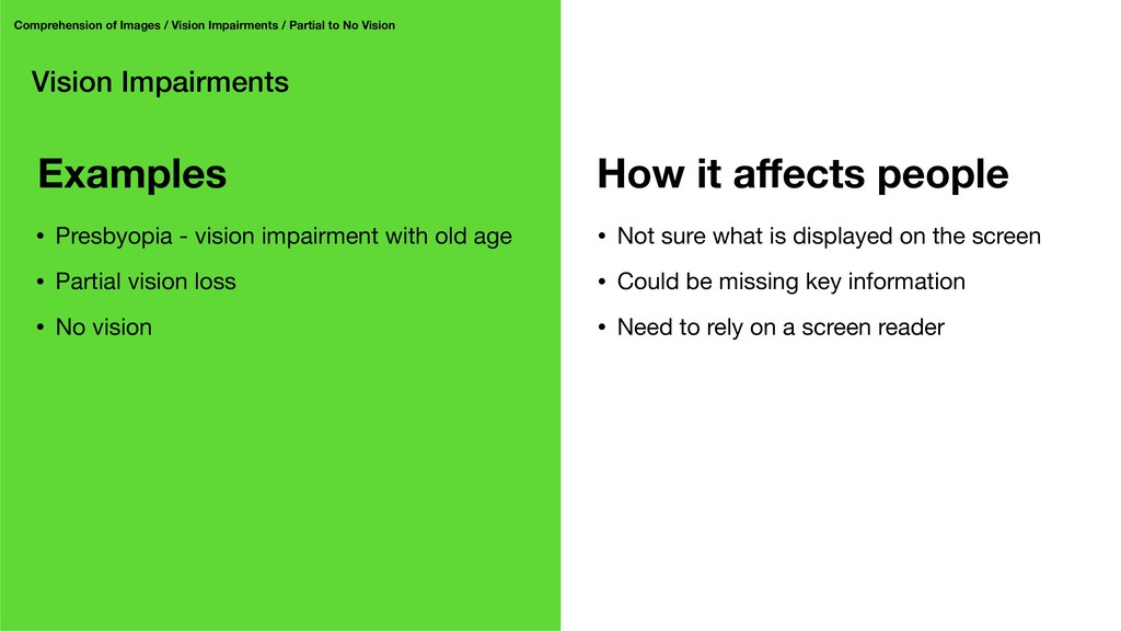 Vision Impairments Comprehension of Images / Vi...