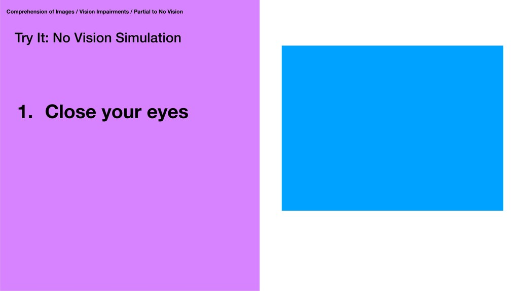 Try It: No Vision Simulation 1. Close your eyes...