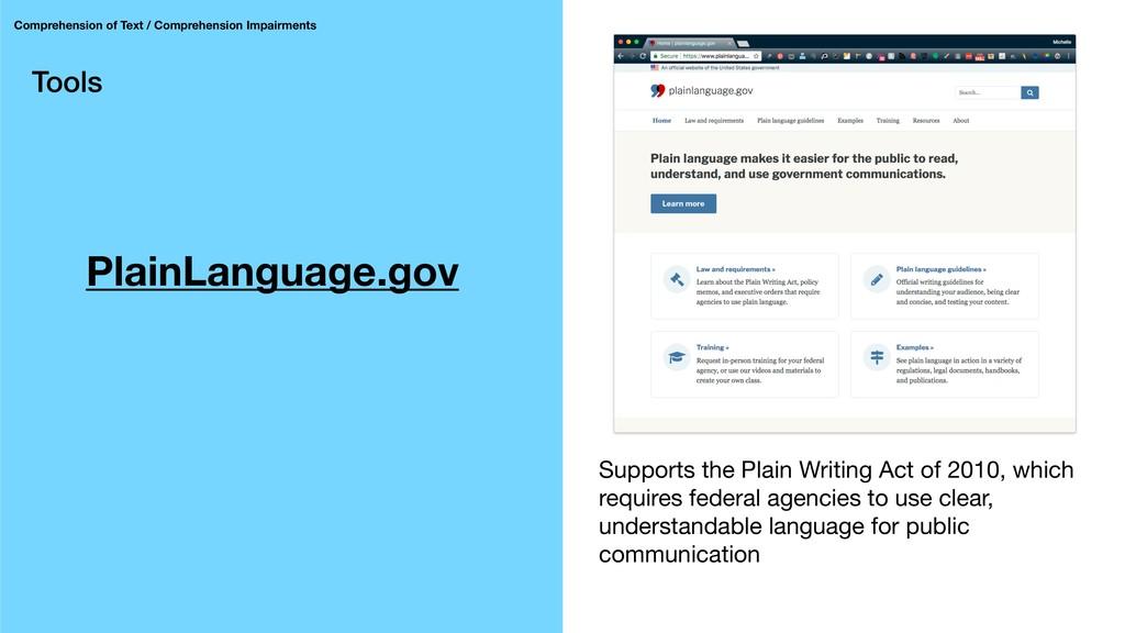 Tools PlainLanguage.gov Comprehension of Text /...