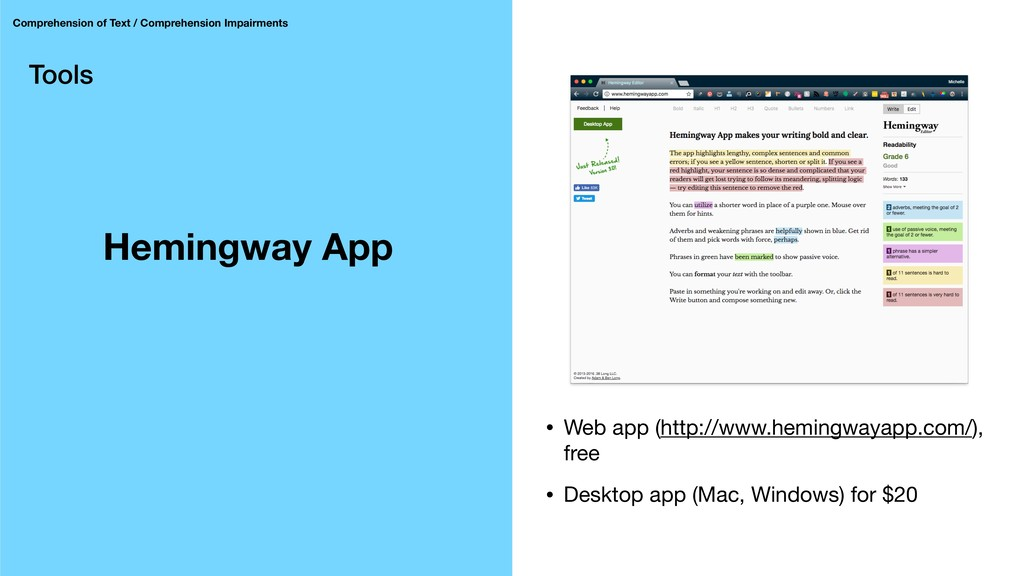 Tools Hemingway App Comprehension of Text / Com...