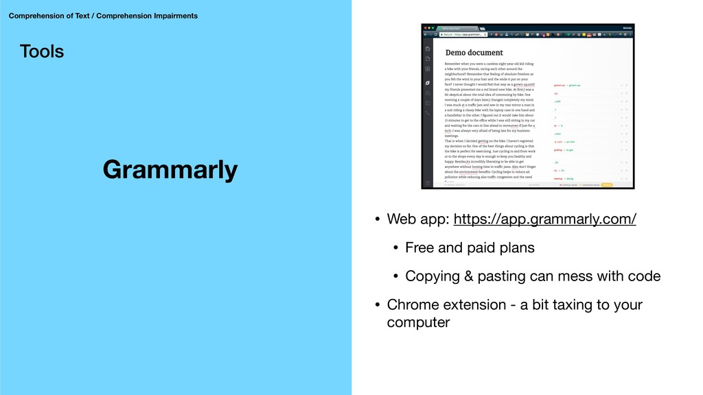 Tools Grammarly Comprehension of Text / Compreh...