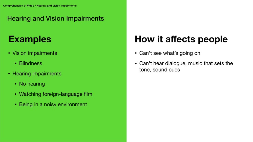 Hearing and Vision Impairments Comprehension of...