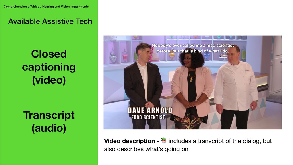 Available Assistive Tech Comprehension of Video...