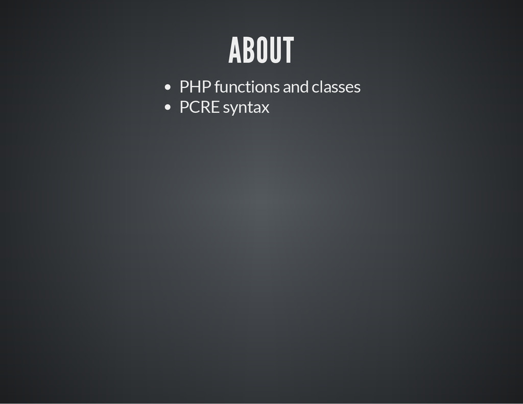 ABOUT PHP functions and classes PCRE syntax