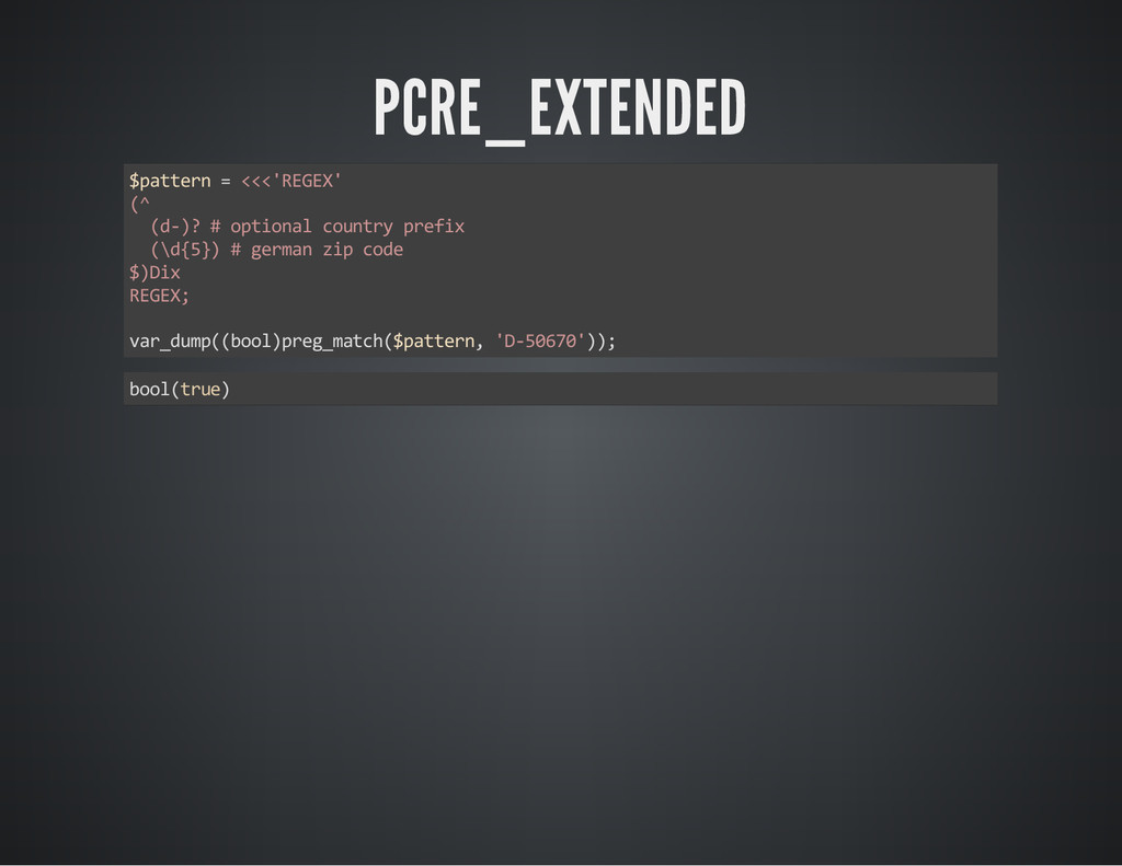 PCRE_EXTENDED $pattern = <<<'REGEX' (^ (d‐)? # ...