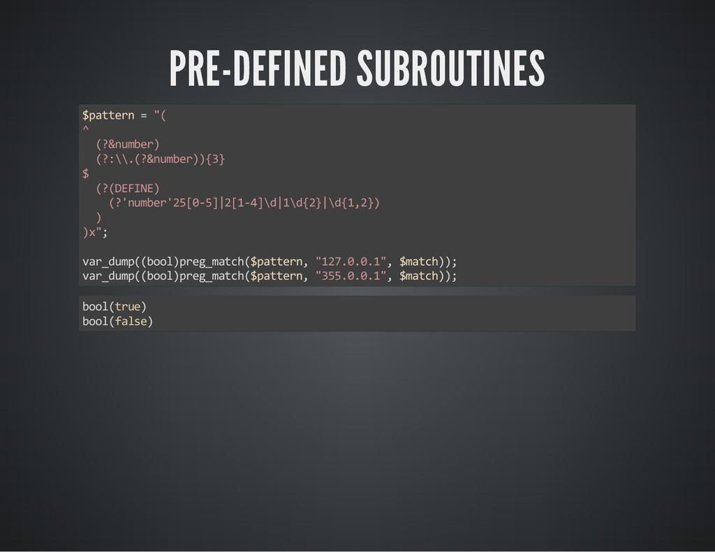 """PRE-DEFINED SUBROUTINES $pattern = """"( ^ (?&numb..."""