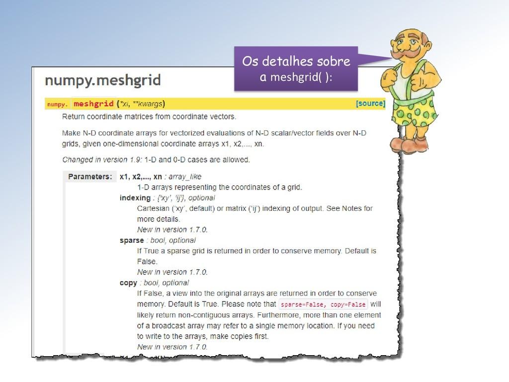 Os detalhes sobre a meshgrid( ):
