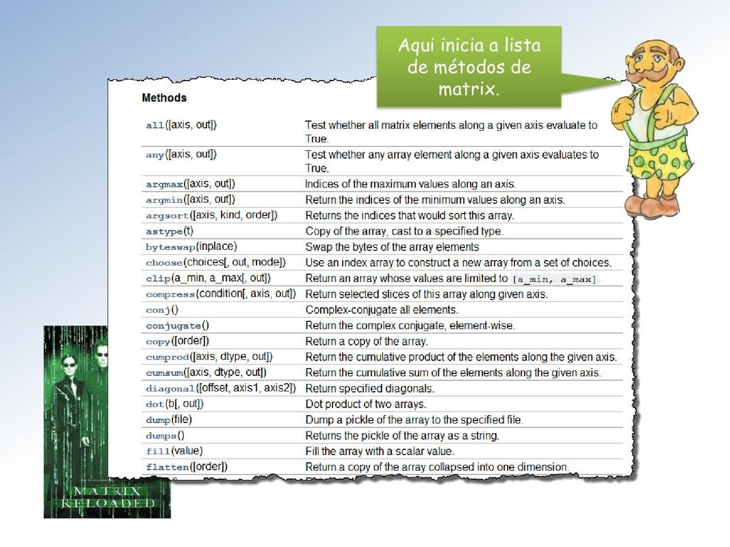 Aqui inicia a lista de métodos de matrix.