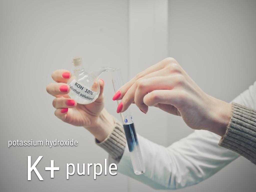 potassium hydroxide K+purple