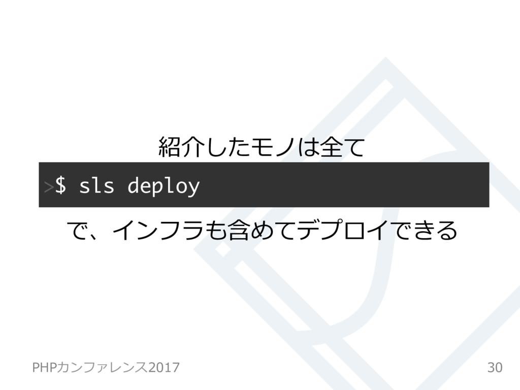 $ sls deploy 紹介したモノは全て で、インフラも含めてデプロイできる 30 P...