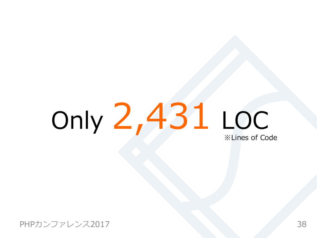 Only 2,431 LOC 38 PHPカンファレンス2017 ※Lines of Code