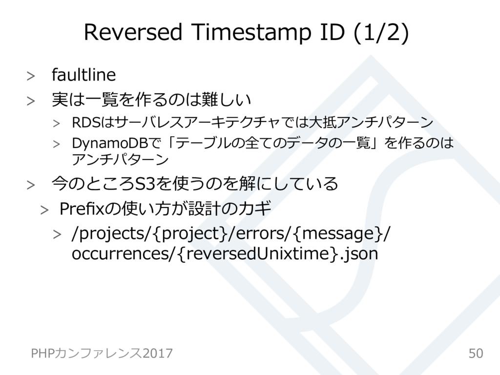Reversed Timestamp ID (1/2)  faultline  実は⼀...