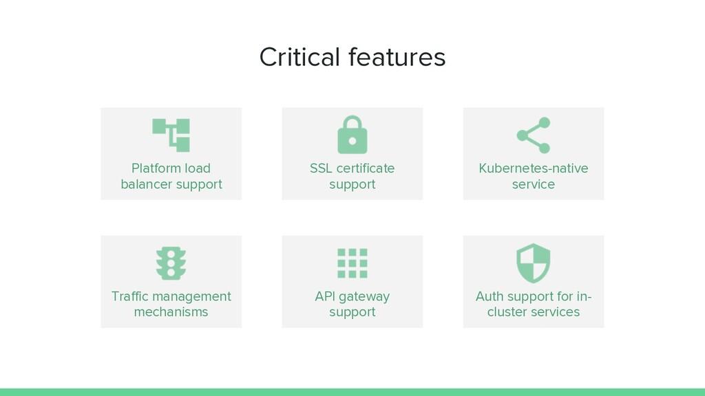 Critical features Platform load balancer suppor...