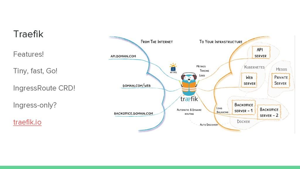Traefik Features! Tiny, fast, Go! IngressRoute ...