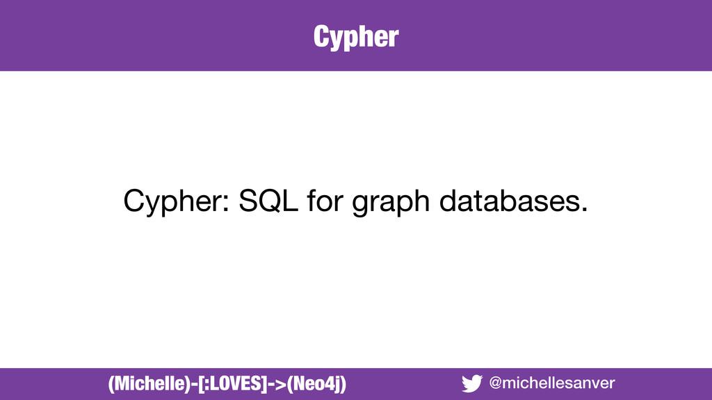 Cypher @michellesanver Cypher: SQL for graph da...
