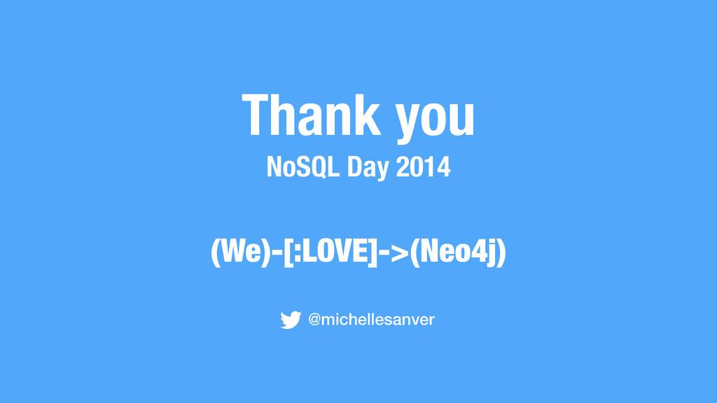 Thank you NoSQL Day 2014 @michellesanver (We)-[...