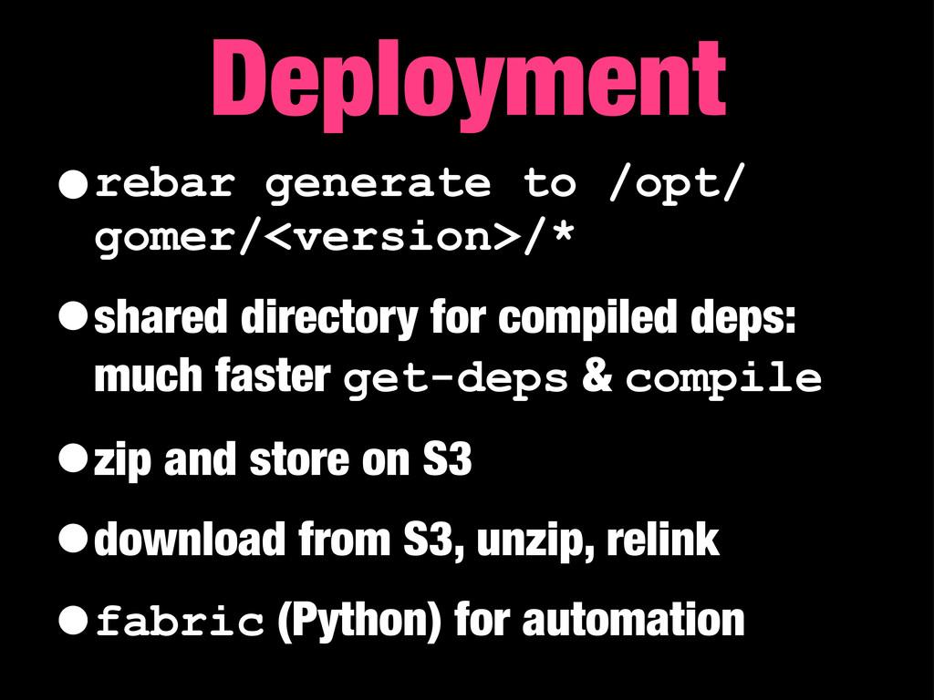 •rebar generate to /opt/ gomer/<version>/* •sha...