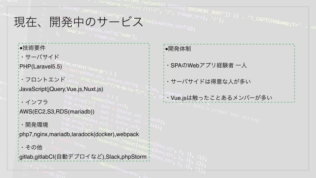 ݱࡏɺ։ൃதͷαʔϏε ■ٕज़ཁ݅ ɾαʔόαΠυ PHP(Laravel5.5) ɾϑϩϯτ...