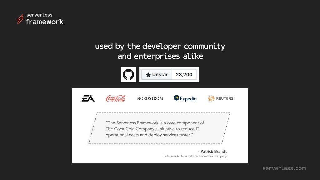used by the developer community and enterprises...