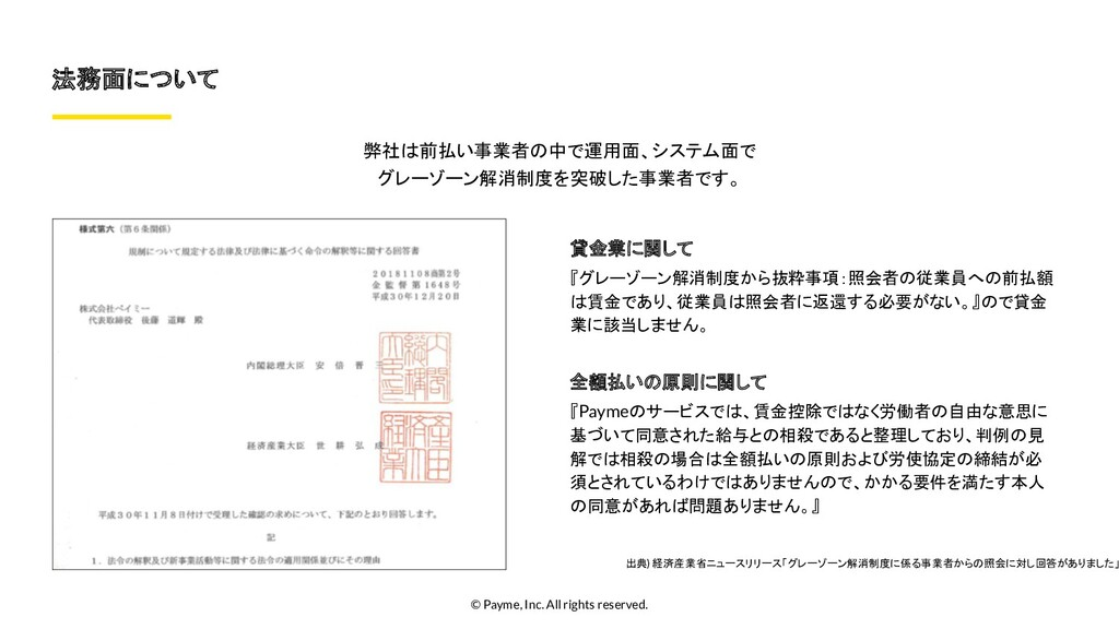 © Payme, Inc. All rights reserved. 法務面について 弊社は前...