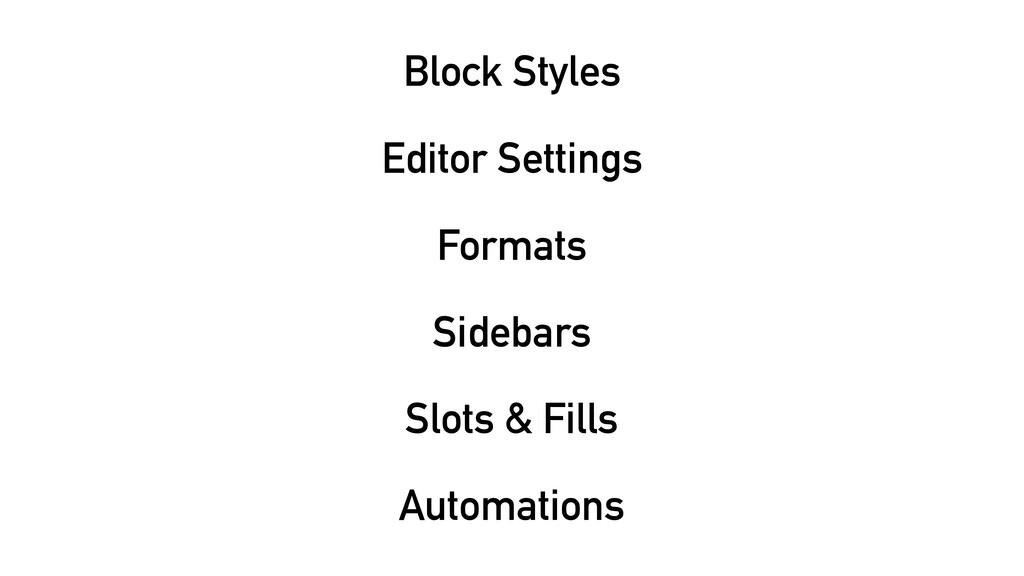 Block Styles Editor Settings Formats Sidebars S...