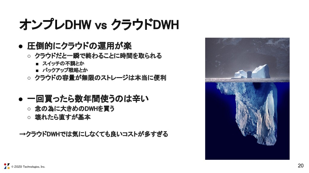 © ZOZO Technologies, Inc. オンプレDHW vs クラウドDWH 2...